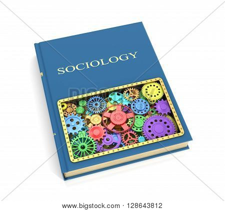 The concept of the book on sociology of shesternyamy.3D illustration