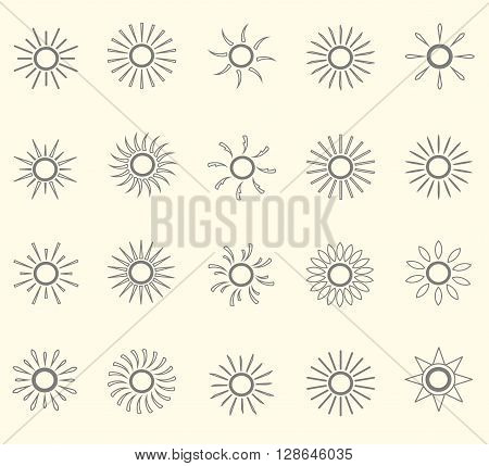 Set of sun line ikons. Thin grey line on light pink background, vector illustration