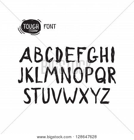 Grunge tough simple font. Universal alphabet with capital letters for your design concept, art, business