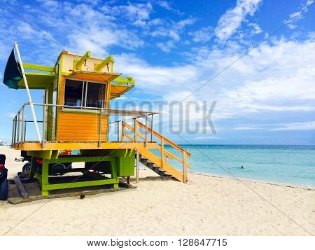 A lifeguard station on the Miami Beach