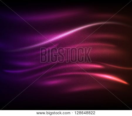 Beautiful purple-pink light glare. Cosmic glows and lighting effects with moving particles, sparkles, waves. Abstract vector illustration for your design