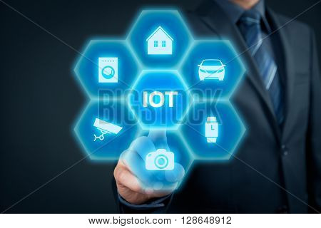 Internet of things (IoT) concept. Businessman click on IoT button connected with icons of typical IoT - intelligent house car camera security camera watch and washing machine. poster