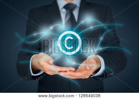 Intellectual property protection law and rights copyright and patents concept.