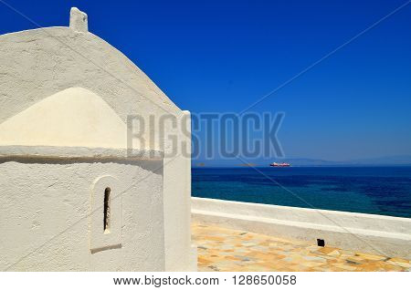 Traditional chapel at Aegina Island, Greece, at summertime.