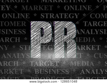Advertising concept: Glowing text PR in grunge dark room with Dirty Floor, black background with  Tag Cloud