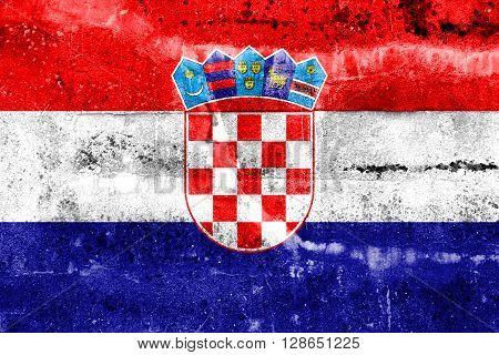 Croatia Flag painted on grunge wall. Vintage and old look.