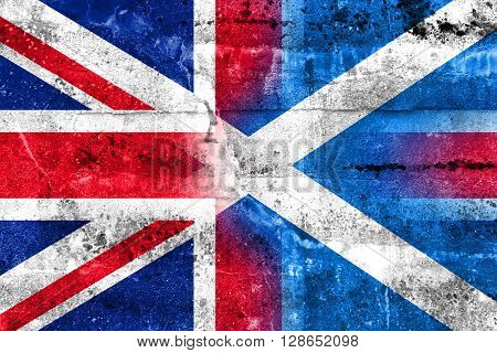 Scotland And United Kingdom Flag Painted On Grunge Wall