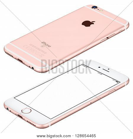 Varna Bulgaria - October 25 2015: Rose Gold Apple iPhone 6s mockup lies on the surface clockwise rotated with white screen and back side with Apple Inc logo. Isolated on white.