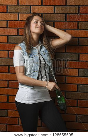 Teen Girl With Beer