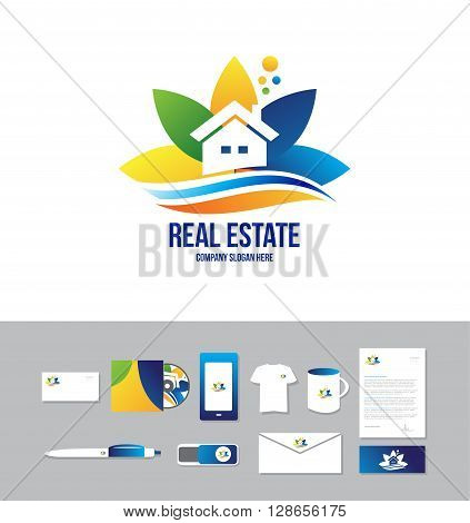 Corporate identity vector cd business card company logo icon element template real estate house