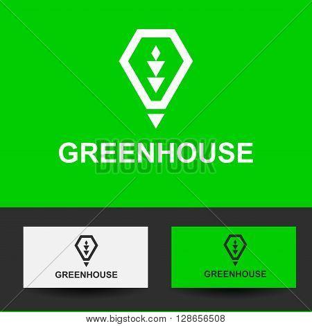 Business Icon - greenhouse, vector logo concept illustration lamp, heat, light green. Organic logo. Ecology logo. Leafs logo. Bio logo. Nature organic logo. Agriculture logo. Vector logo template.