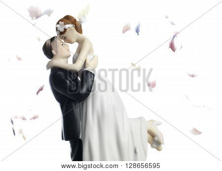 Bride and Groom wedding cake topper with confetti
