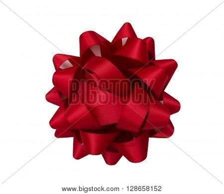 Christmas ribbon star Decoration isolated on a white background