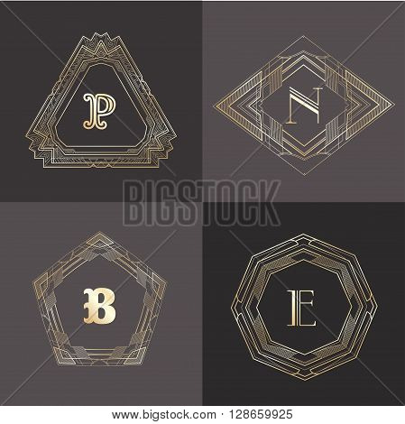 Monogram logo template with  calligraphic elegant ornament. Identity design with letter P, N, B, E for shop, store or restaurant, heraldic, barbershop or barber, beauty salon, justic lawyer, boutique or hotel