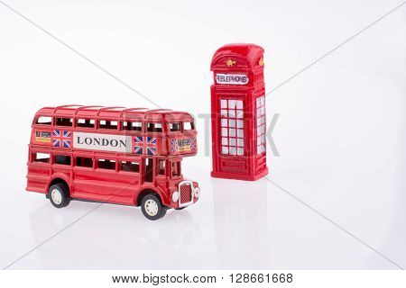 London Bus near a Telephone booth on a white background