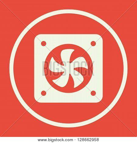 Fan Icon In Vector Format. Premium Quality Fan Symbol. Web Graphic Fan Sign On Red Background.