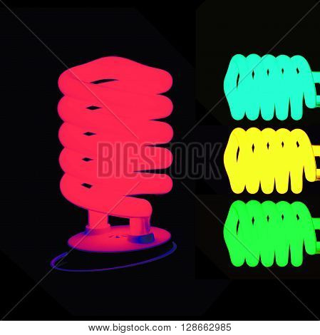 group of beautifull color lamps on black background
