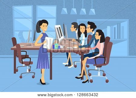 Asian Business People Group Work At Computer Desktop Businesswoman With Paper Document Secretary Flat Vector Illustration poster