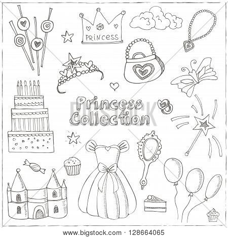 Fairy Tale Princess set Tiara Crown castle dress. Isolated vector illustration for identity, design, decoration, packages product and interior decoration