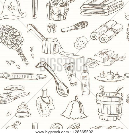 Sauna accessories doodle seamless pattern. Sketch. Hand drawn spa items collection. Vector illustration  for design menus, recipes and packages product.