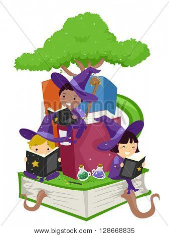 Stickman Illustration of Kids Reading Wizardry Books