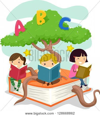 Stickman Illustration of Kids Reading Books While Sitting on a Tree Branch