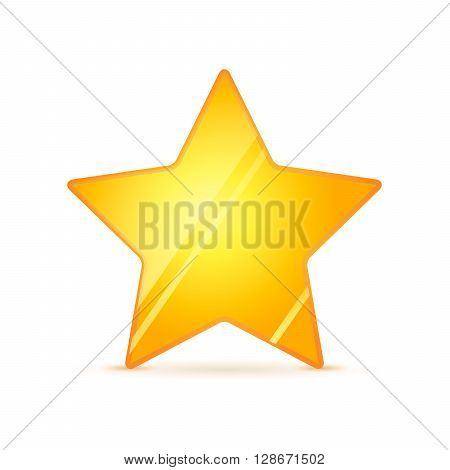 Glossy golden rating star with shadow isolated on white