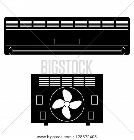 Wall-mounted Air Conditioner Icon. Air Purifier. Air Conditioner on the Wall.