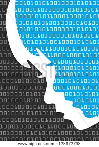 Child stylized head silhouette with binary codes. Vector available.