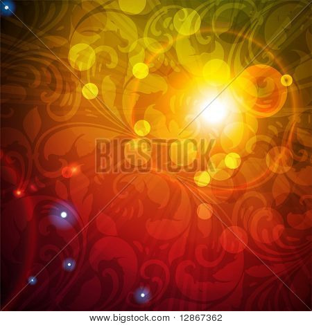 Seamless Wallpaper Background with sun shine, glow sparks and stars. Colorful eps 10 poster