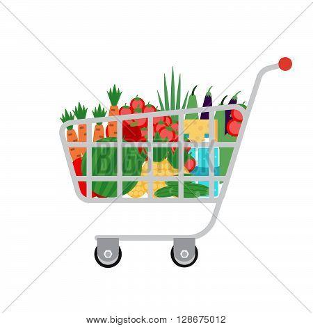 Supermarket shopping cart. Stock vector. Vector illustration.