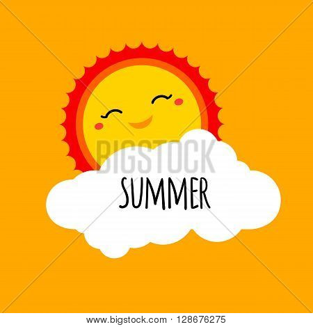 Vector abstract cartoon summer background design concept with happy smiley sun white cloud and hand drawn lettering. Summer holiday design element for summer beach or summer camp logo banner sign