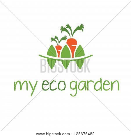 Abstract illustration of garden and carrot. vector illustration