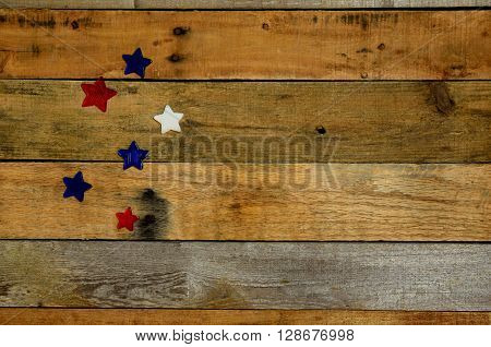 Rustic decorative stars on pallet wood. USA red white and blue stars. Holiday Memorial Day, Labor Day, Veteran's Day, 4th of July.