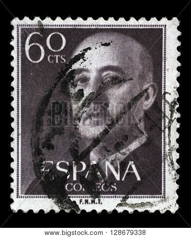 ZAGREB, CROATIA - JUNE 24: A stamp printed in Spain shows a portrait of Francisco Franco, circa 1955, on June 24, 2014, Zagreb, Croatia