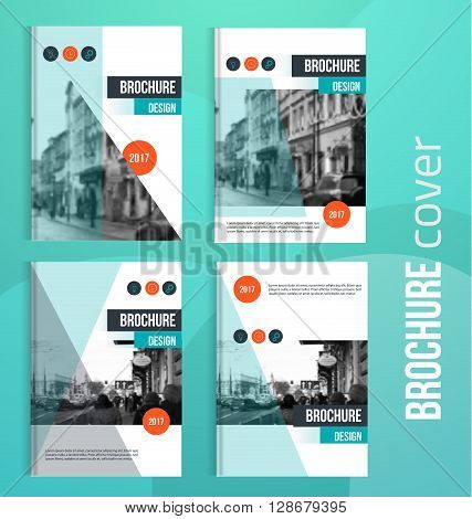 Set of Vector brochure cover templates with blured city landscape. Business brochure cover design, flyer brochure cover, professional corporate brochure  cover