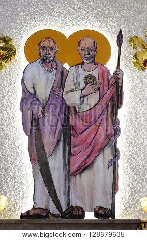 ZAGREB, CROATIA - JANUARY 31: St. Simon and St. Judas Thaddaeus on tha altar of the church of Saint Blaise in Zagreb, Croatia on January 31, 2015