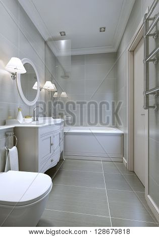 Spacy modern bathroom with classic furniture round mirror. 3D render