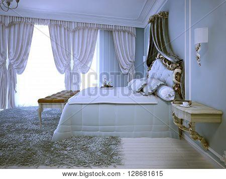 Avant garde design of bedroom in daylight. Large tick pile grey carper pale wood wall mounter bedside table. 3D render