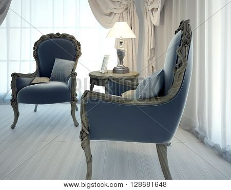 Two armchairs of navy colored leather. Hand mane chairs in living room art deco style. 3D render