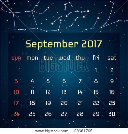 Vector calendar for 2017 in the space style. Calendar for the month of September with the image of the constellations in the night starry sky. Elements for creative design ideas of your calendar