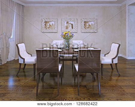 Design of dining room in private house. Beautiful white chairs with wooden carcas. Served wooden table in room with cream colored plaster walls. 3D render