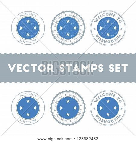 Micronesian Flag Rubber Stamps Set. National Flags Grunge Stamps. Country Round Badges Collection.