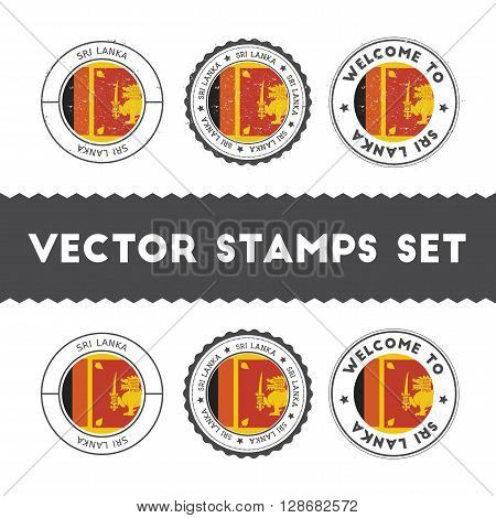 Sri Lankan Flag Rubber Stamps Set. National Flags Grunge Stamps. Country Round Badges Collection.