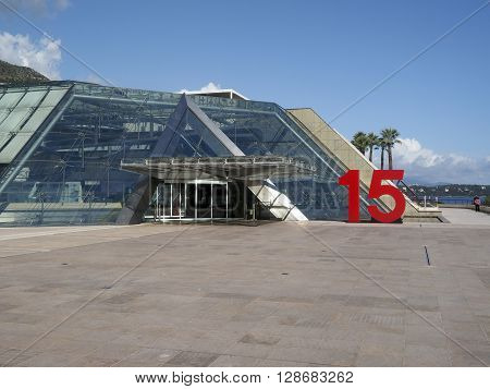 MONTE CARLO MONACO-OCT. 15: Grimaldi Forum Conference and Congress Centre located on the seafront of Monaco in Monte Carlo Europe is seen on October 15 2015.