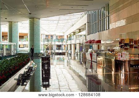 HONG KONG - JUNE 04, 2015: Regal Airport Hotel interior. Regal Airport Hotel directly linked to Hong Kong International Airport