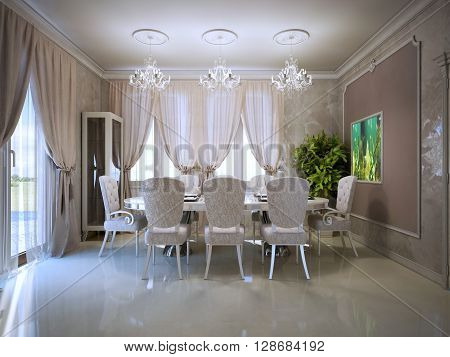 Cozy dining room in retro style. Fabric upholstered dining chairs Polished concrete flooring. 3D render