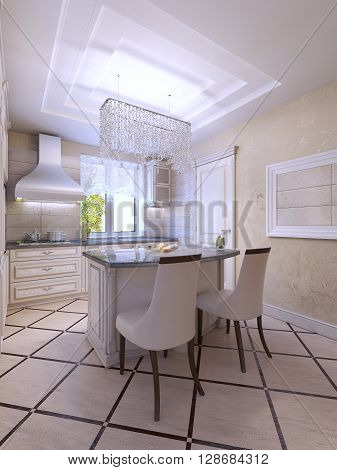 Idea of bright kitchen with island bar in art deco style. Light colors in interior. 3D render