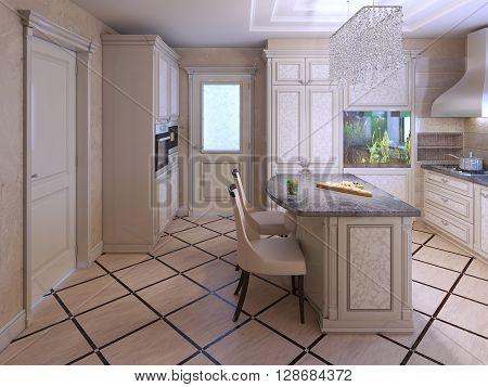 Decor tile in modern kitchen. 3D render
