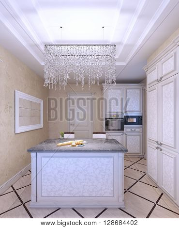 Interior of new white kitchen with beautiful pattern-front cabinets. Cream textured walls. 3D render